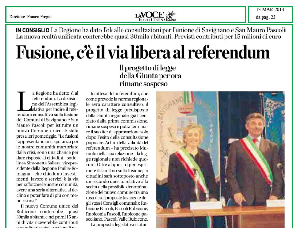 Rassegna stampa La Voce di Romagna 13 marzo 2013