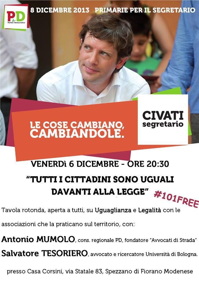 """06.12.13 Fiorano Modenese. Incontro pubblico: """"Tutti i cittadini sono uguali davanti alla legge"""""""