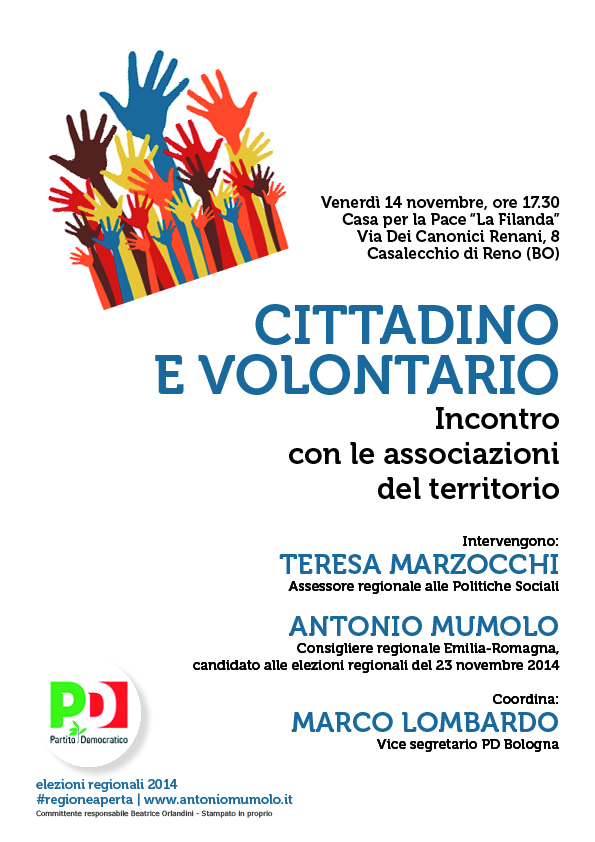 """14.11.14 Casalecchio: """"Cittadino e volontario, incontro con le associazioni del territorio"""""""