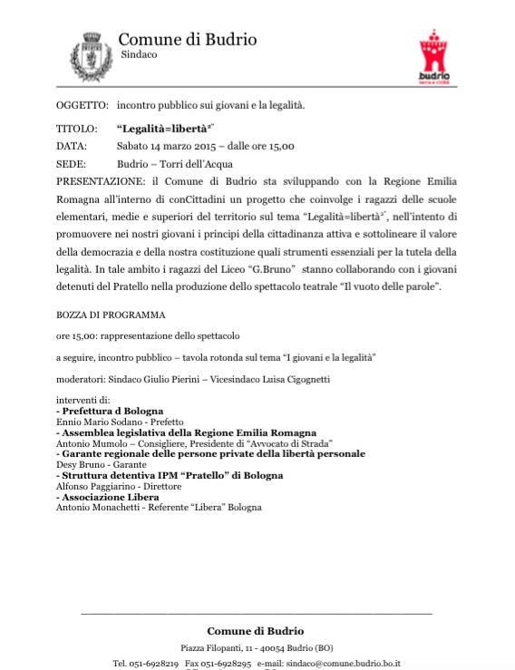 """14.03.15 Budrio: """"Incontro pubblico su giovani e legalità"""""""