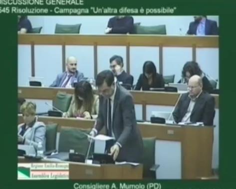 """Adesione della Regione Emilia-Romagna alla campagna """"Un'altra difesa è possibile"""""""