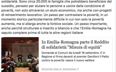 In Emilia-Romagna parte il reddito di solidarietà