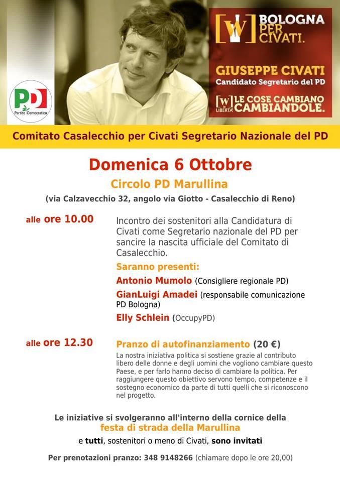"""06.10.13 Nasce il comitato """"Casalecchio di Reno per Civati"""""""