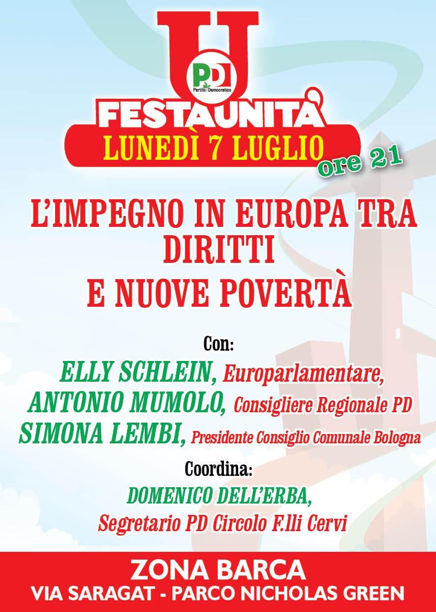 """07.06.14 Festa Unità Reno – Porto – Saragozza: """"L'impegno in Europa tra diritti e nuove povertà"""""""