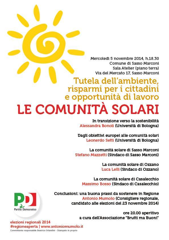 """05.11.14 Sasso Marconi: """"Le comunità solari"""""""