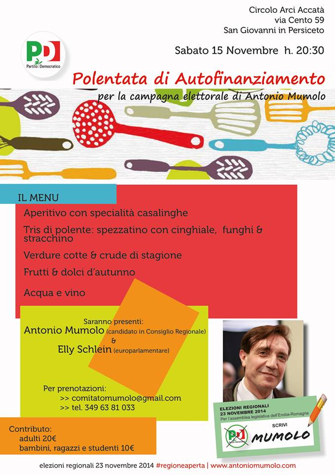 15.11.14 A Cena con Antonio Mumolo. Polentata di autofinanziamento