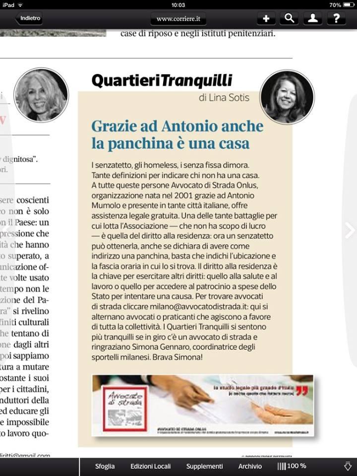 """Sette Magazine: """"Grazie ad Antonio anche la panchina è una casa"""""""