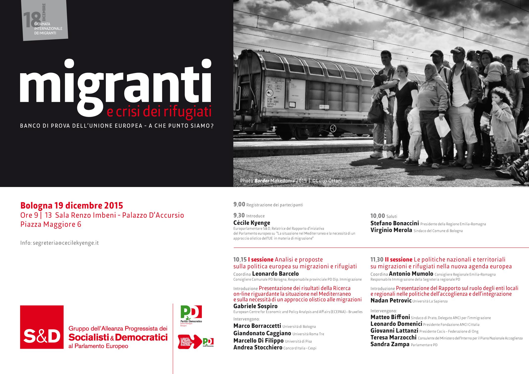 Migranti e crisi dei rifugiati: 19 dicembre a Palazzo D'Accursio, Bologna