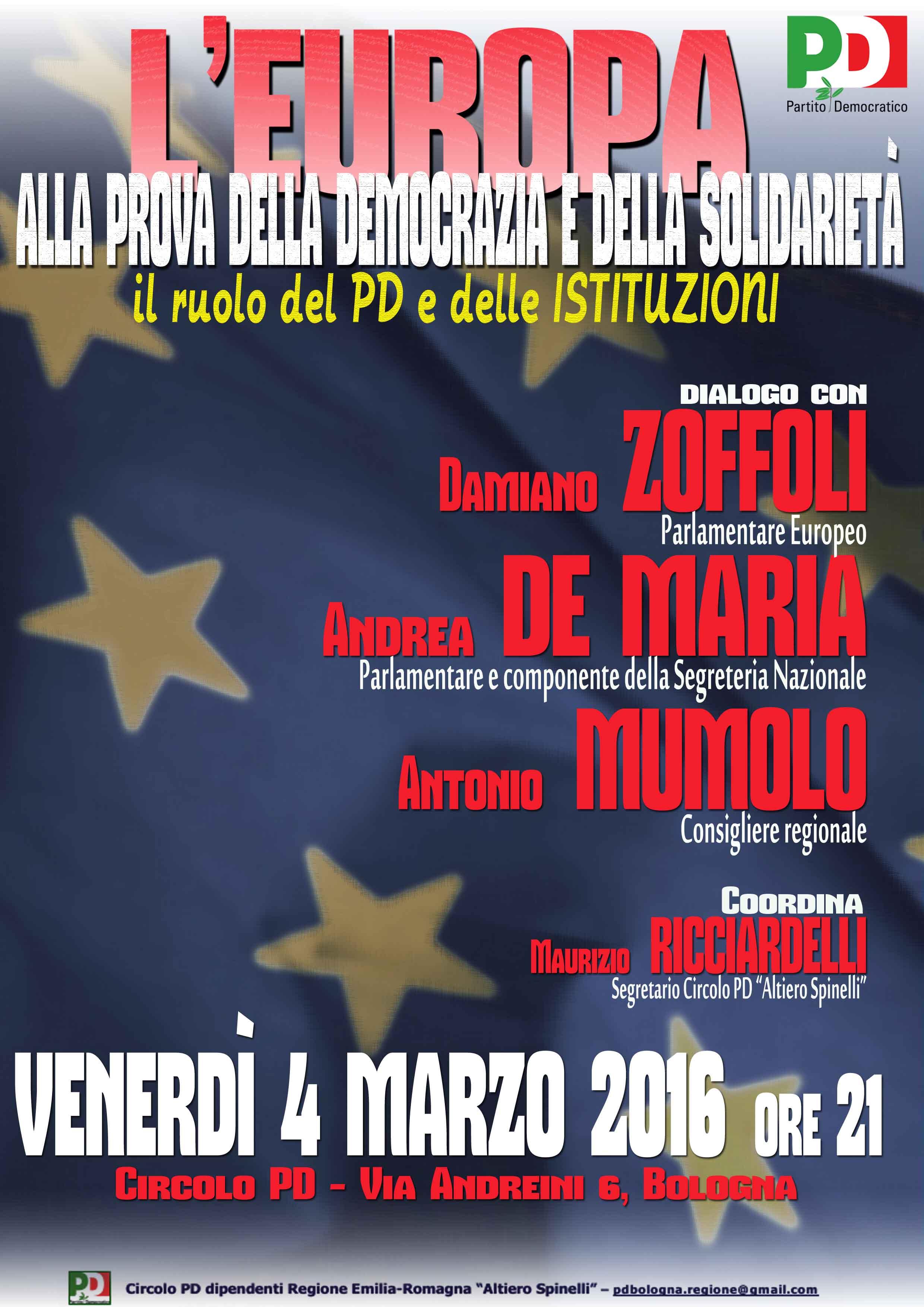 """04.03.16 Bologna. """"L'Europa alla prova della democrazia e della solidarietà"""""""