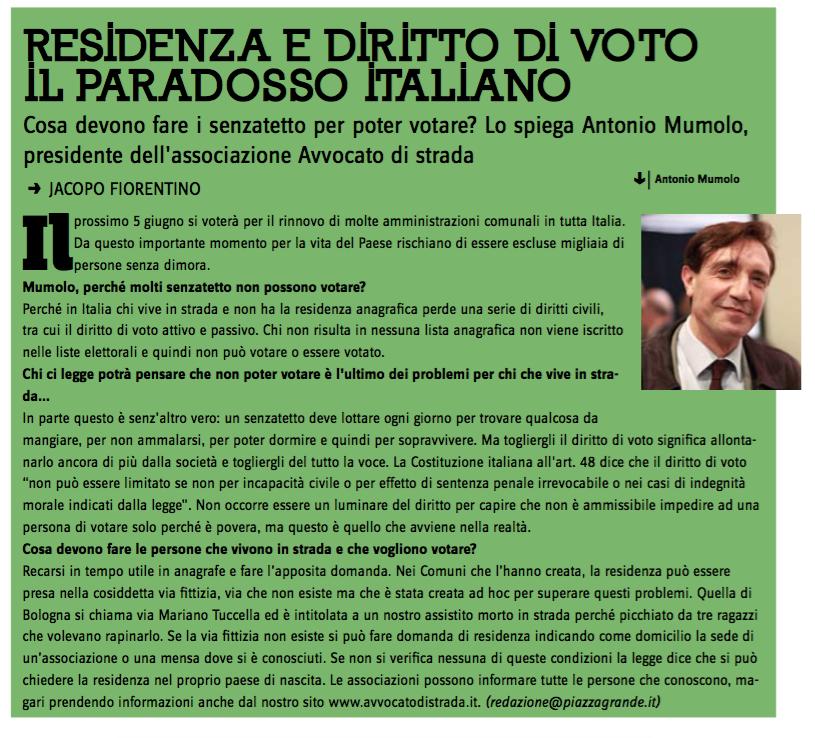 Residenza e diritto di voto, il paradosso italiano